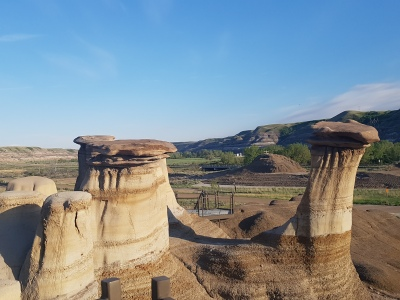 Hoodoo formations. Canadian badlands. [May 2017]